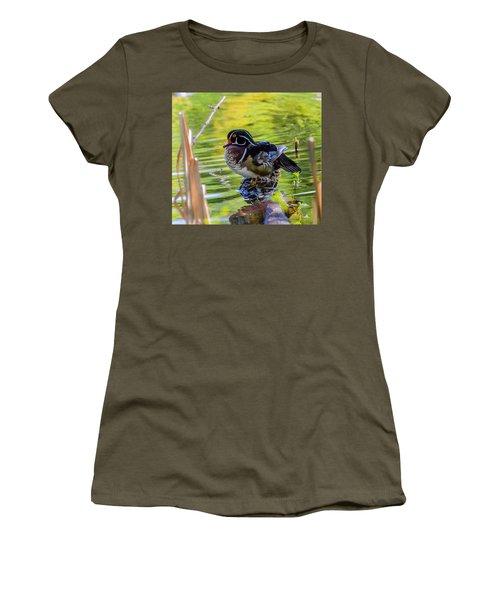 Wood Duck Women's T-Shirt (Junior Cut) by Jerry Cahill