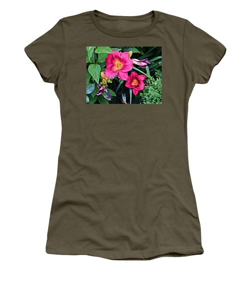 2015 Summer At The Garden Strawberry Candy Daylily 2 Women's T-Shirt