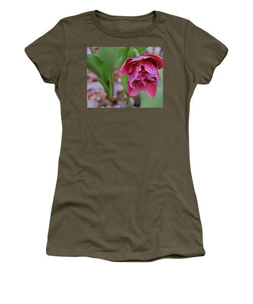 Women's T-Shirt (Athletic Fit) featuring the photograph 2018 Vernon Tulips 3 by Janis Nussbaum Senungetuk