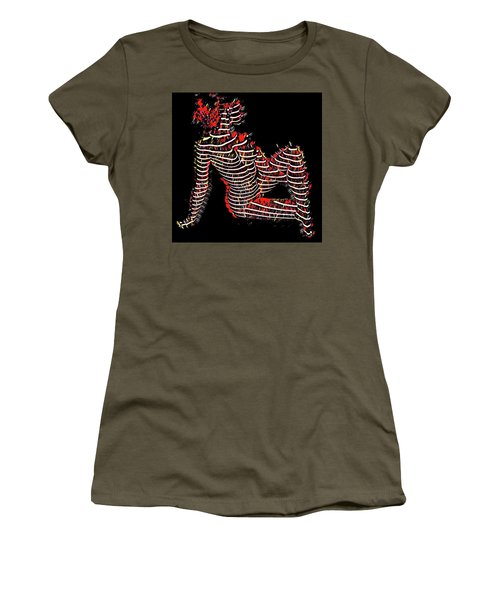2450s-mak Lined By Light Nude Woman Rendered As Abstract Oil Painting Women's T-Shirt