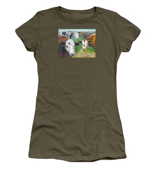 Women's T-Shirt (Junior Cut) featuring the painting 3 Cows by Oz Freedgood