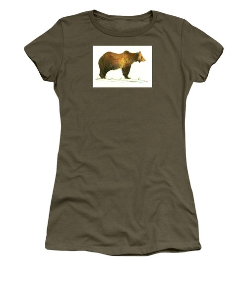 Grizzly Brown Bear Women's T-Shirt (Athletic Fit)
