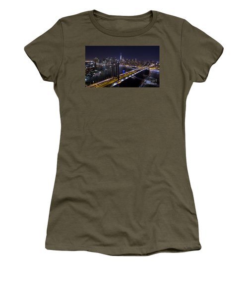 Women's T-Shirt (Junior Cut) featuring the photograph New York City, Manhattan Bridge At Night by Petr Hejl