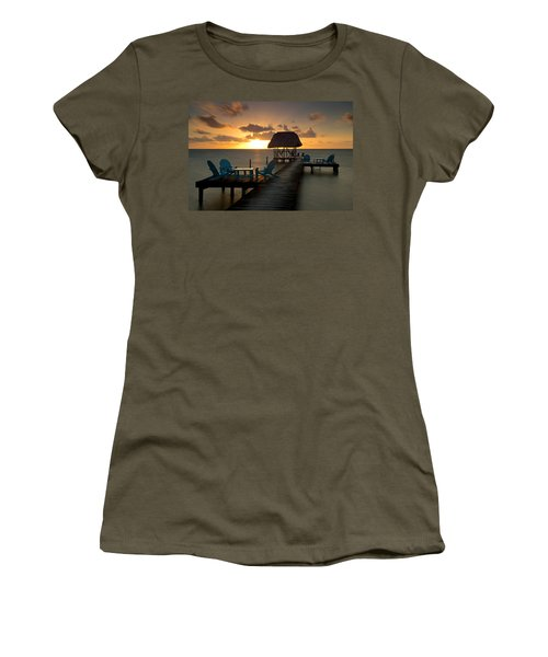 Pier With Palapa On Caribbean Sea Women's T-Shirt