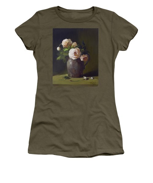 3 Roses In Silver Pitcher Women's T-Shirt (Athletic Fit)