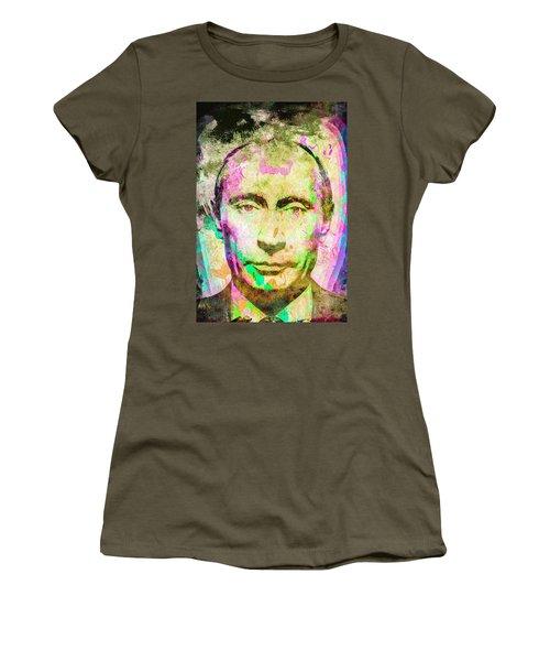 Women's T-Shirt (Junior Cut) featuring the mixed media Vladimir Putin by Svelby Art