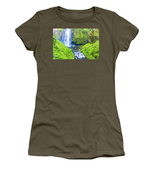 Women's T-Shirt (Athletic Fit) featuring the photograph Multnomah Falls by Jonny D