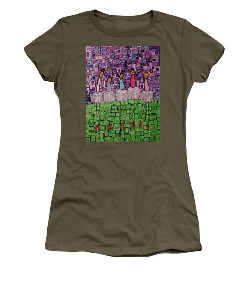 Women's T-Shirt (Junior Cut) featuring the painting 4 Non-blondes by Donna Howard