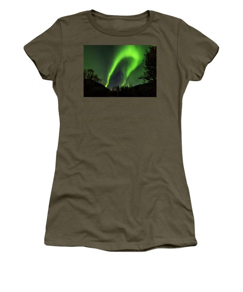 Northern Lights, Aurora Borealis At Kantishna Lodge In Denali National Park Women's T-Shirt (Athletic Fit)