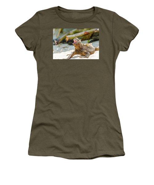 Marine Iguana On Galapagos Islands Women's T-Shirt (Junior Cut) by Marek Poplawski