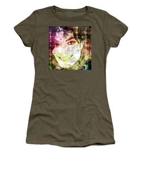 Women's T-Shirt (Junior Cut) featuring the mixed media Michael Jackson by Svelby Art