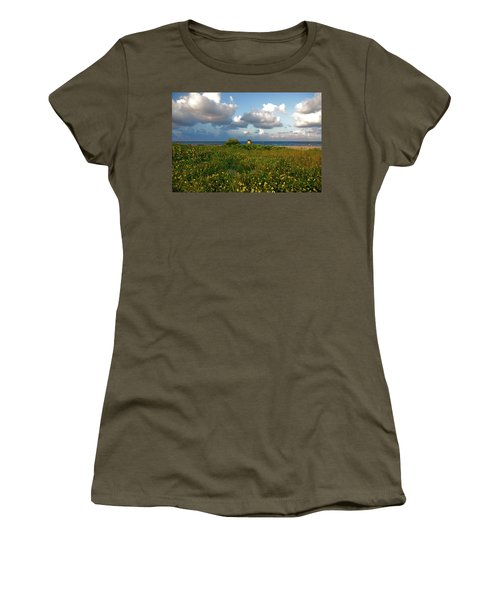 Women's T-Shirt (Junior Cut) featuring the photograph 8- Sunflowers In Paradise by Joseph Keane