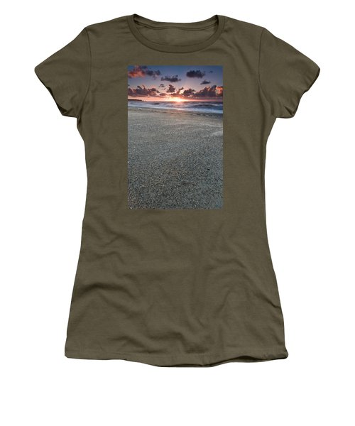A Beach During Sunset With Glowing Sky Women's T-Shirt
