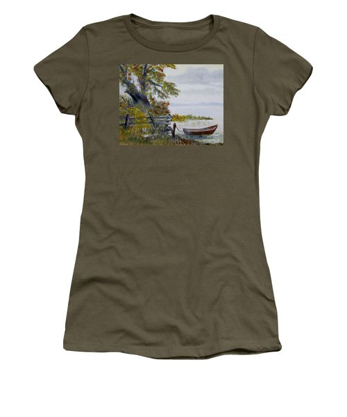Women's T-Shirt (Junior Cut) featuring the painting A Boat Waiting by Marilyn  McNish