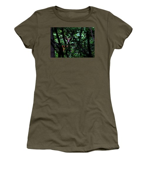 A Buck Peers From The Woods Women's T-Shirt (Athletic Fit)