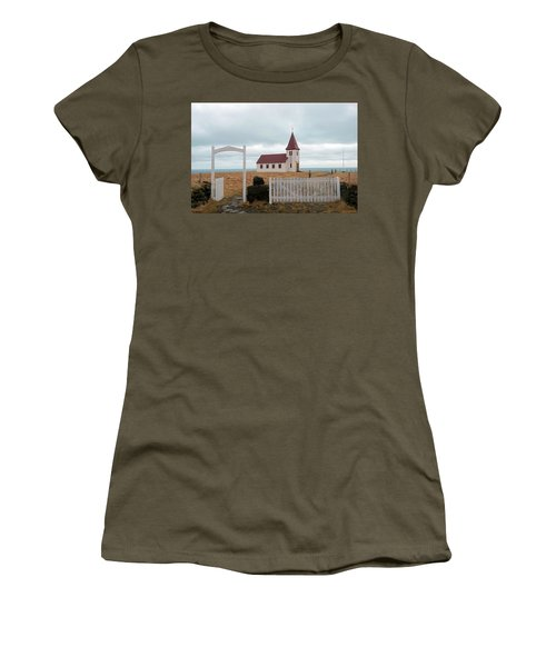 Women's T-Shirt (Athletic Fit) featuring the photograph A Church With No Fence by Dubi Roman