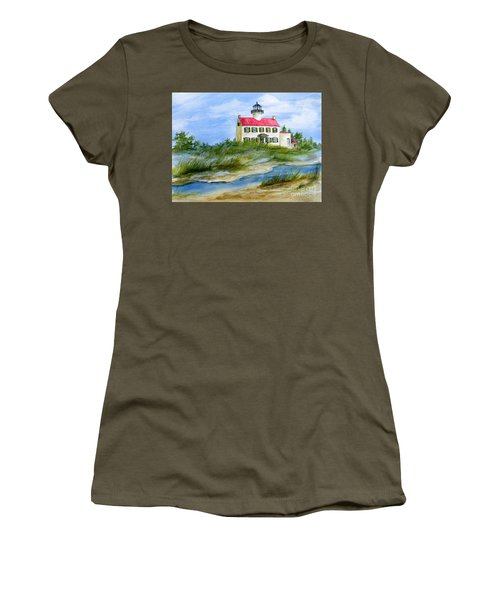 A Clear Day At East Point Lighthouse Women's T-Shirt (Junior Cut) by Nancy Patterson