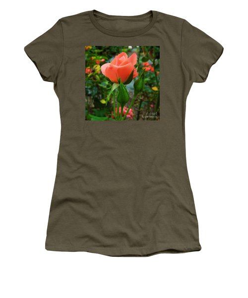 A Delicate Pink Rose Women's T-Shirt (Junior Cut) by Chad and Stacey Hall