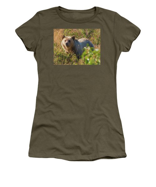 A  Female Grizzly Bear Looking Alertly At The Camera. Women's T-Shirt (Athletic Fit)
