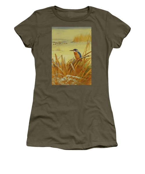 A Kingfisher Amongst Reeds In Winter Women's T-Shirt (Junior Cut) by Archibald Thorburn