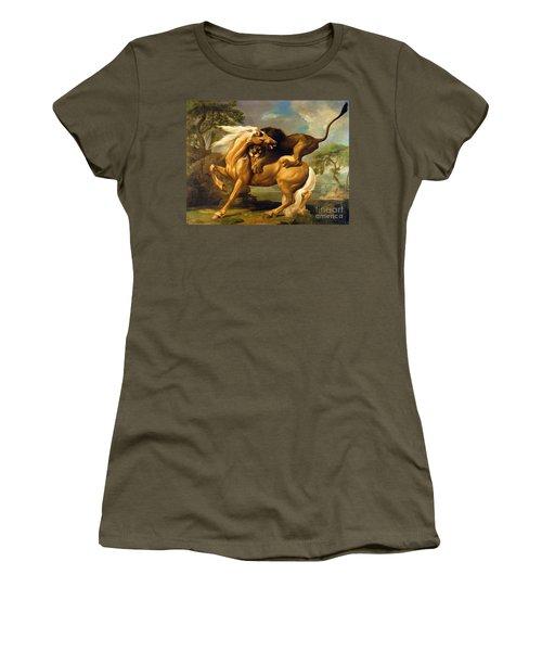 A Lion Attacking A Horse Women's T-Shirt