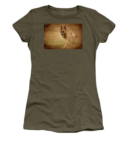 Women's T-Shirt featuring the photograph A Little Playtime - German Shepherd Dog by Angie Tirado