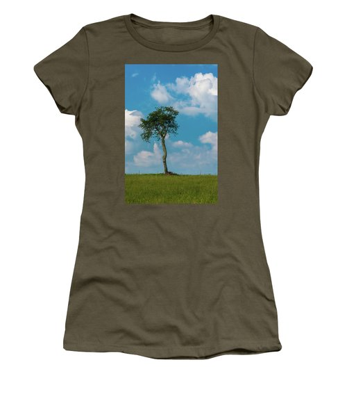 Women's T-Shirt (Athletic Fit) featuring the photograph A Lonely Tree On A Hill by Guy Whiteley