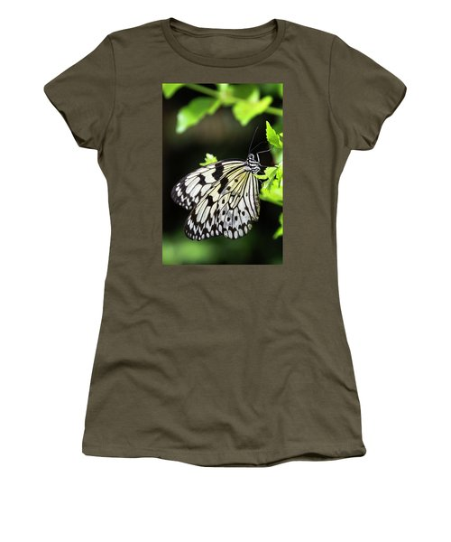 Women's T-Shirt (Athletic Fit) featuring the photograph A Paper Kite Butterfly On A Leaf  by Saija Lehtonen
