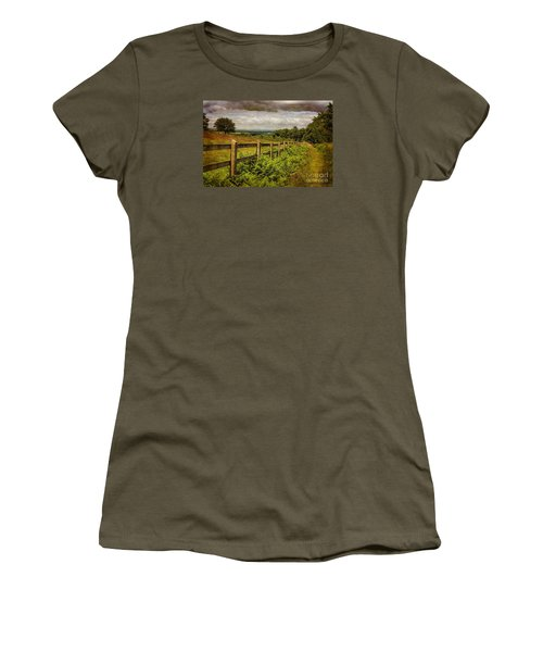 Women's T-Shirt (Junior Cut) featuring the photograph A Path From  A Hill by Linsey Williams