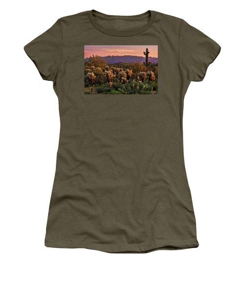 Women's T-Shirt (Junior Cut) featuring the photograph A Pink Kissed Sunset  by Saija Lehtonen