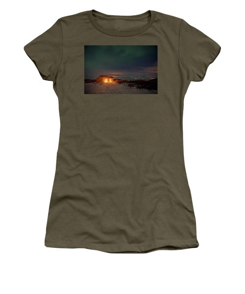 Women's T-Shirt (Athletic Fit) featuring the photograph A Place For The Night, South Of Iceland by Dubi Roman