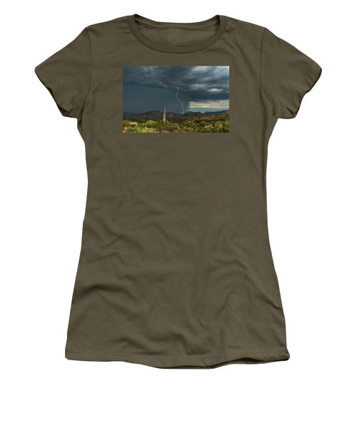 Women's T-Shirt (Athletic Fit) featuring the photograph A Rainy Sonoran Day  by Saija Lehtonen