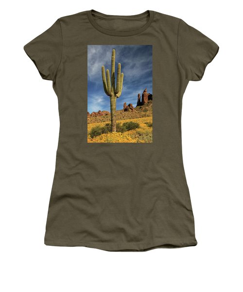 Women's T-Shirt (Athletic Fit) featuring the photograph A Saguaro In Spring by James Eddy