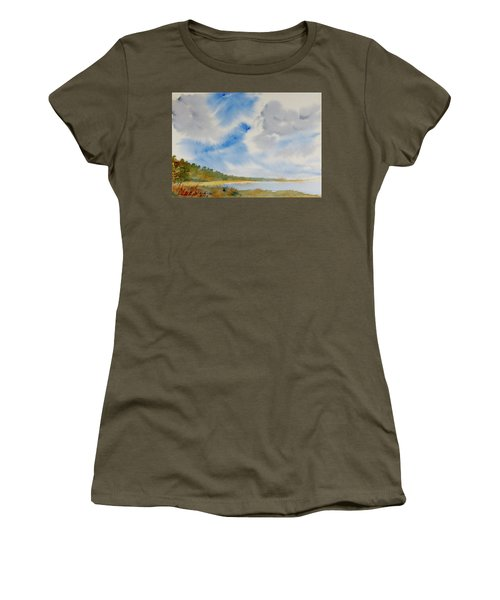 A Secluded Inlet Beneath Billowing Clouds Women's T-Shirt