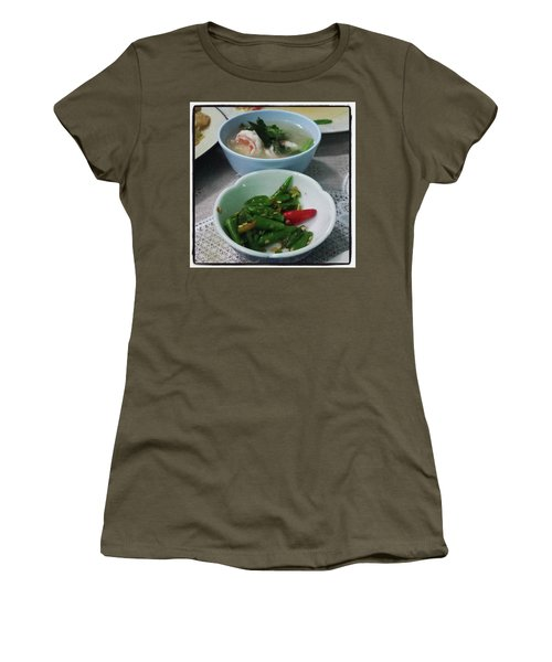 Women's T-Shirt featuring the photograph A Side Of Tom Yum Goon With Your by Mr Photojimsf