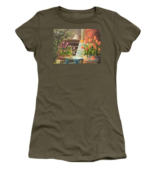 Women's T-Shirt (Junior Cut) featuring the painting A Special Place by Renate Nadi Wesley
