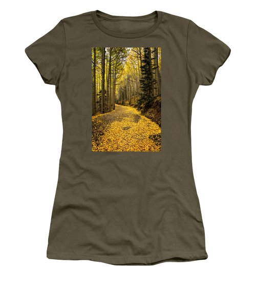 A Stroll Among The Golden Aspens  Women's T-Shirt