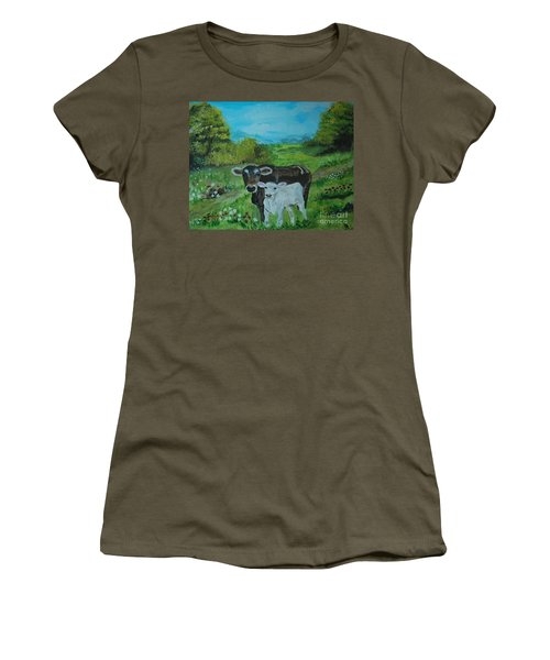 Women's T-Shirt (Junior Cut) featuring the painting A Tender Love by Leslie Allen