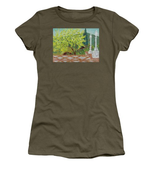 Women's T-Shirt featuring the painting A View From Hearst Castle by Maria Langgle