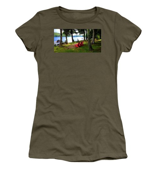 Women's T-Shirt (Athletic Fit) featuring the photograph A View Of Big Moose Lake by David Patterson