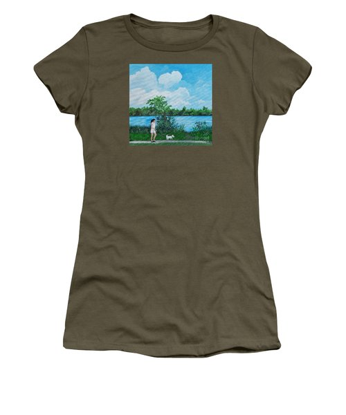 A Walk Along The River Women's T-Shirt (Junior Cut) by Reb Frost