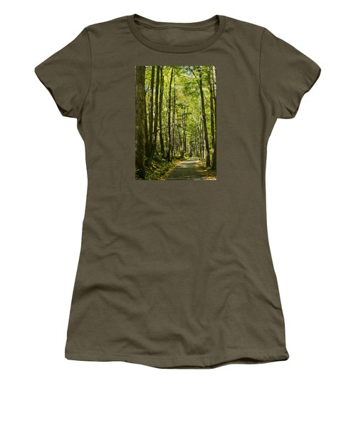 A Woodsy Trail Women's T-Shirt (Junior Cut) by Wanda Krack