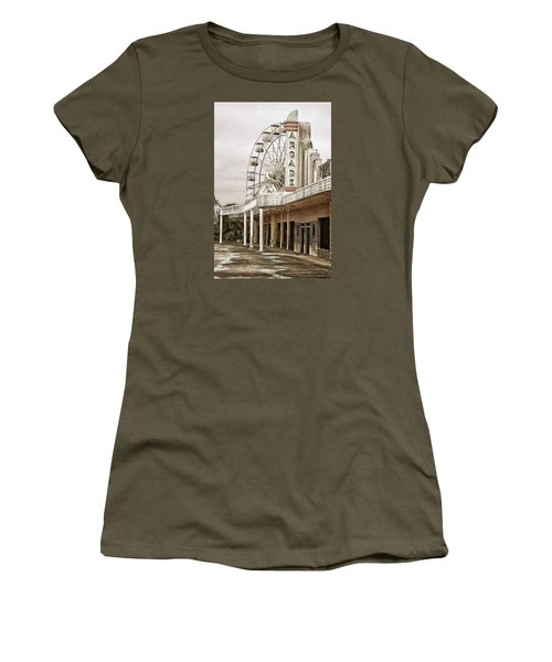 Women's T-Shirt (Junior Cut) featuring the photograph Abandoned Arcade And Ferris Wheel by Andy Crawford