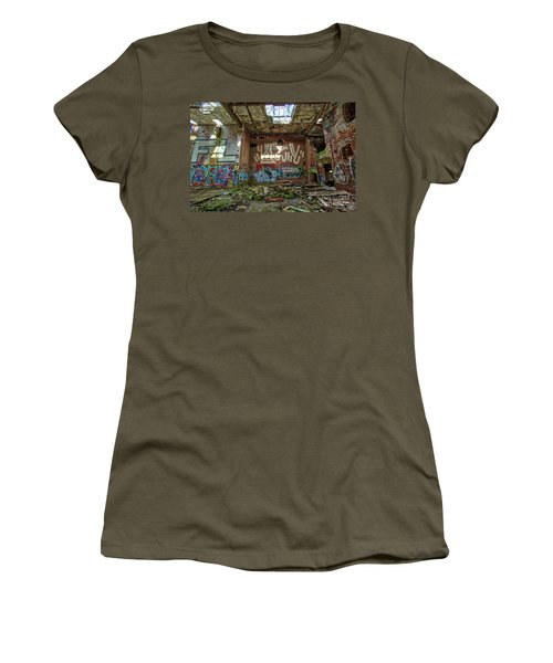 Women's T-Shirt (Athletic Fit) featuring the photograph Abandoned Factory Newport New Hampshire by Edward Fielding