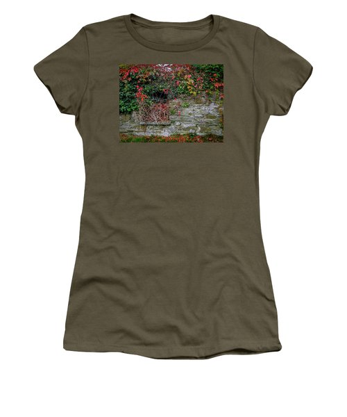 Women's T-Shirt (Athletic Fit) featuring the photograph Abandoned Irish Cottage In Autumn by James Truett
