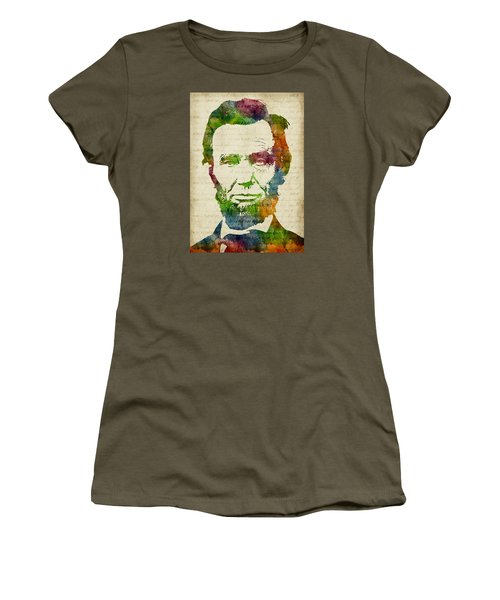 Abraham Lincoln Watercolor Women's T-Shirt (Junior Cut) by Mihaela Pater