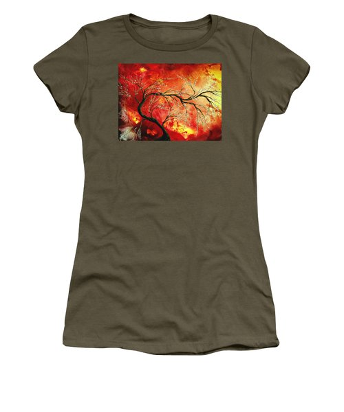 Abstract Art Floral Tree Landscape Painting Fresh Blossoms By Madart Women's T-Shirt