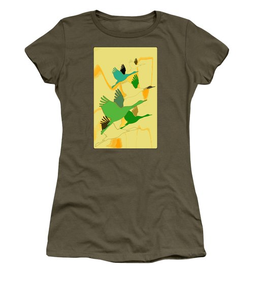 Abstract Cranes Women's T-Shirt (Athletic Fit)