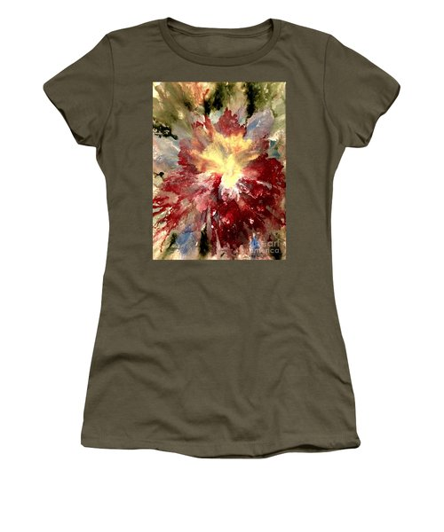 Women's T-Shirt (Athletic Fit) featuring the painting Abstract Flower by Denise Tomasura