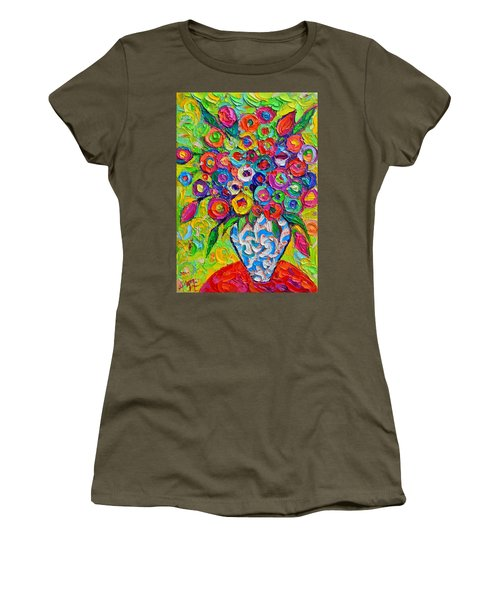 Abstract Flowers Of Happiness Impressionist Impasto Palette Knife Oil Painting By Ana Maria Edulescu Women's T-Shirt